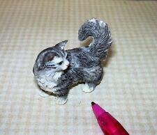 Miniature Long-Haired Himalayan Type Grey Resin Cat: Dollhouse 1/12