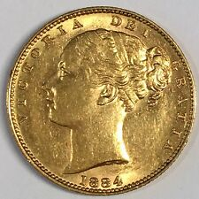 1884-M Great Britain Sovereign Gold Coin - High Quality Scans #C874