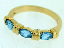 R223- Genuine 9ct Solid Yellow Gold NATURAL Swiss Topaz Trilogy Ring size O