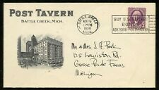 U.S. Scott 720 On 2-sided Ad Cover for Post Tavern in Battle Creek, Michigan