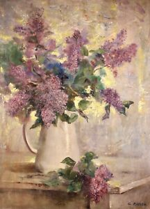 GEORGES ROUSSIN (1854-1941) LARGE SIGNED FRENCH OIL CANVAS - FLOWERS IN VASE