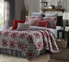 Farmhouse Primitive Red Country Star 3-Piece **QUEEN Quilt Set Rustic Lodge Gray