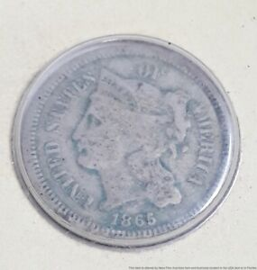 1865-P Antique Three 3 Cent Nickel American Coin USA 17.9mm 1.9g Money Currency