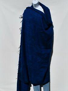 Blanket/Throw | Yak Wool Blend |Nepal |Handmade |Over-Sized | Dark Blue & Black