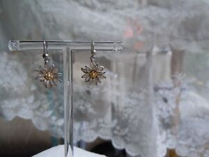 Vintage Silver Filligree Edelweiss Earrings Jewelry for Antique Dolls Bisque