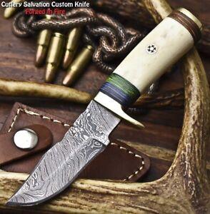 Rare Custom Hand Made Damascus Steel Blade Miniature Knife | CAMEL BONE
