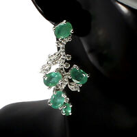 Unheated Oval Emerald 7x5mm Cz 14K White Gold Plate 925 Sterling Silver Earrings
