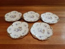 "Set Of 5 Vtg Limoges-5 3/4"" Scalloped Plates. Purple Violet Flowers With Gold."