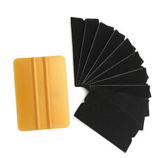 10pcs Gold Squeegee Applicator Tools Replaceable Felt Edge Film Vinyl Wrap Set