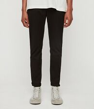 NEW AllSaints Felix Slim Chino Size 32 Ink Navy Stretch Cotton Trousers Black