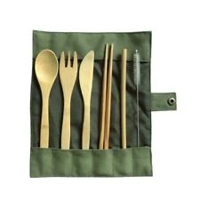 6Pcs Portable Bamboo Cutlery Travel Eco-friendly Fork Spoon Straw Prtical Set AU