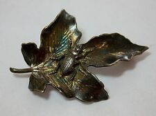 "Exceptional Victorian SHIEBLER Sterling Silver ""Insect on Leaf"" Bug Pin Brooch"