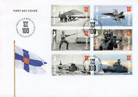 Finland 2018 FDC Defence Forces 100 Yrs 6v S/A Cover Ships Aviation Stamps