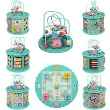 8 In 1 Activity Cube Toy Set Baby Kids Educational Wooden Bead Maze Shape Sorter