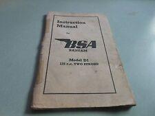 BSA BANTAM APRIL 1950 Instruction Manual Model D1 125cc Two Stroke MC.165-20