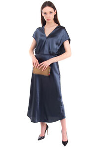 RRP €370 VINCE. Satin Midi A-Line Dress Size 4 / S Unlined Shiny Wet Look Belted