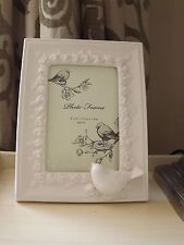 "Ceramic Bird Picture Frame  4"" x 6"" White"