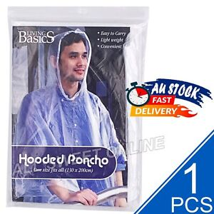 1x Reusable Emergency Hooded Poncho Raincoat Clear One Size Fits All Camping AU