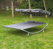 Patio Outdoor Double Hammock Bed Sun Lounge w/Sun Shade Canopy Wheels Swim Pool