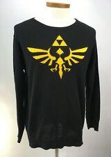 Legend of ZELDA Skyward Sword Black  Large Crew Neck Knit Sweater Gold Triforce
