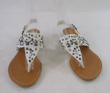 "White Spikes 1"" Low Wedge Heel Summer Sandals Sexy Shoes Size 8"