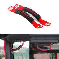 Red Rear Side Grab Bar Handles Headrest Handles fits 2007-2018 Jeep Wrangler JK