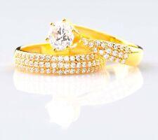 3,20 Karat Solide 585er Gelb Gold Rund Form Wunderbar Hochzeit Set