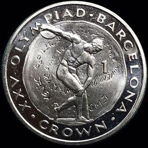 1991 Gibraltar 1 Crown KM #66 Barcelona 1992 Summer Olympics Discus Thrower
