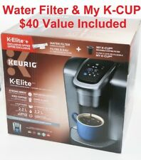 Keurig K-Elite Coffee Maker Brushed Silver Bundle with Water Filter & My K-Cup