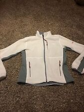 The North Face White Gray Fleece Jacket Full Zip Womens Large