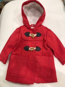 Pumpkin Patch Size 12-18 Months Girls Red Wool Blend Hooded Jacket Coat!