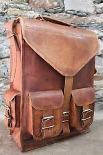 "16"" Mens Womens Genuine Leather Big Large Backpack Rucksack Laptop Collage Bag"