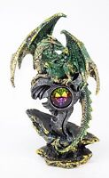 "Mythical Medieval Dragon Statue 7"" Green Western Dark Legend Office Home Decor."