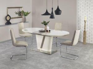 """IBERIS"" Cream & Grey High Gloss Modern Extending Dining Table 160-200 cm"