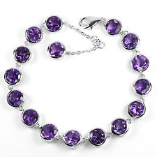 Sterling Silver 925 Genuine Natural Round Cut Amethyst Bracelet 7 to 8 Inch