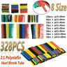 328 Pcs Cable Heat Shrink Tubing Sleeve Wire Wrap Tube 2:1 Assortment Kits Tools
