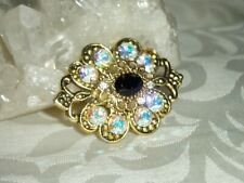 Ab Crystals, Magnetic Pin Fantastic Gold Tone Metal, Onyx,