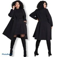 NEW ModCloth Along for the Ride Crepe Coat Black Double Breasted Plus Size 1X