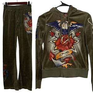 Don Ed Hardy Full Zip Vintage Velour Rose Hoodie and Casual Sweat Pants Olive XS