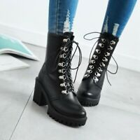 Womens Fashion Punk Lace Up Gothic Chunky Block Mid Heels Platform Ankle Boots