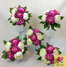 5 X Artificial Flower Cream/Hot Pink Peony Flowers Wedding Bouquets.