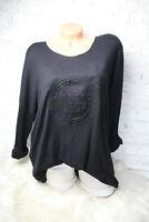 Italy Shirt schwarz Vintage Gr.36 38 40 42 Mickey Mouse 3D Print blogger Pulli