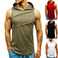 Men Summer Casual Vest Tank Solid Sleeveless Top Hooded Blouse Tee Shirt Hoodie