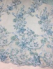 Light Blue Metallic Divine 3D flowers Embroider With Rhinestones On A Mesh Lace.