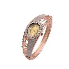 Women's Charming Gold Plated Quartz Watch Dress Jewelry Bangle Luxury Wristwatch