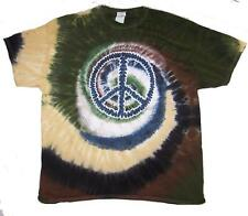 CAMO PEACE SIGN TYE DYED TEE SHIRT mens womens SIZE LG hippie tie dye t#TDT11
