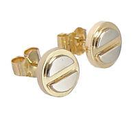 14K TWO-TONE GOLD HANDMADE STUD EARRINGS  8mm #E201 8mm Wide