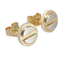 14K TWO-TONE GOLD HANDMADE STUD EARRINGS  8mm #E201 8mm Wide $169.00