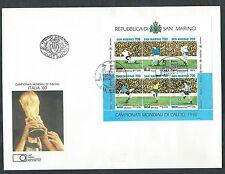 1990 SAN MARINO FDC FAIP FOGLIETTO MONDIALI CALCIO ITALIA NO TIMBRO ARRIVO EDG1