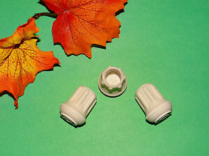 """(3) NEW 1/2"""" WHITE RUBBER CANE TIPS FOR WALKERS, CRUTCHES, WALKING STICKS, ETC."""